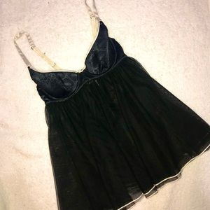 NWT 36C Victoria's Secret Black Pattern Babydoll